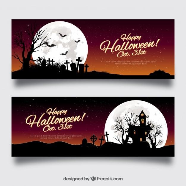 Halloween landscape banners