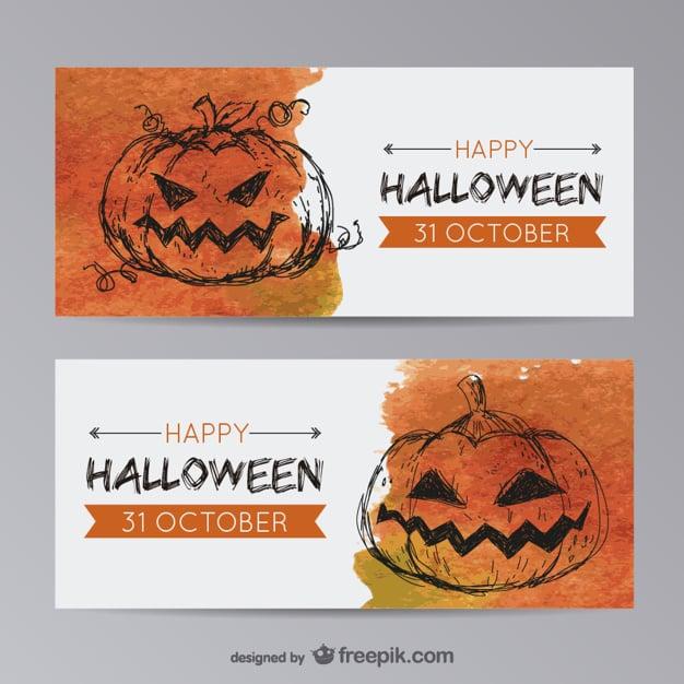 Halloween banner templates with pumpkin