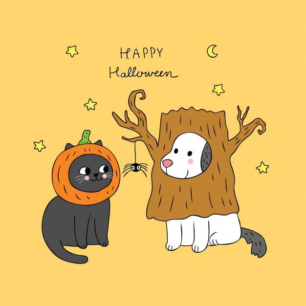cartoon-cute-halloween-cat-and-dog-vector
