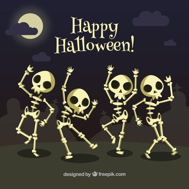 Background of skeletons dancing