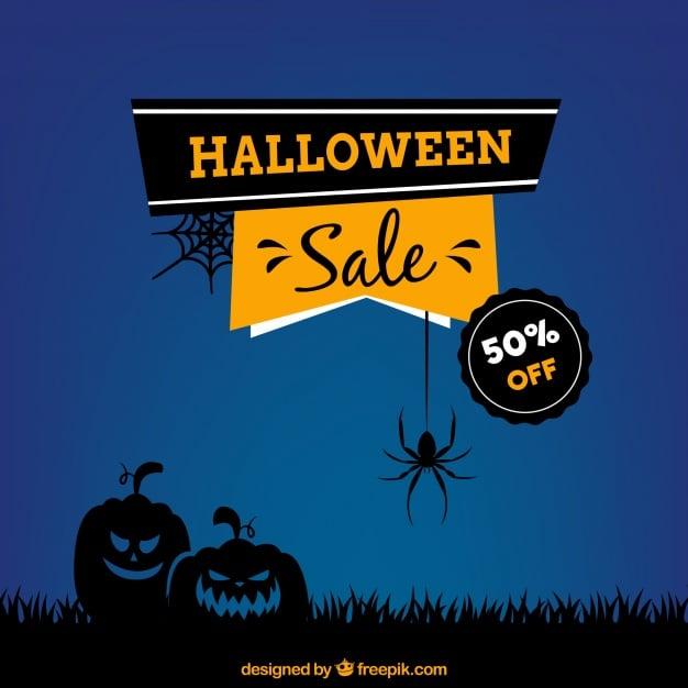 Blue background of sales halloween