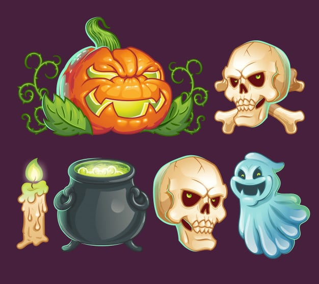 Cartoon characters, icons, stickers for Halloween