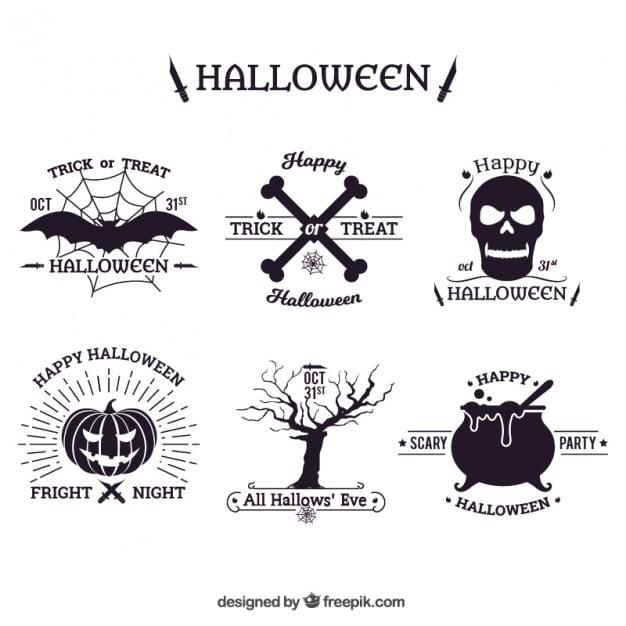 Hand-drawn halloween badges pack