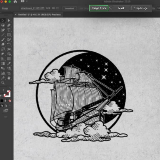Интерфейс Illustrator, показывающий, как отследить изображение