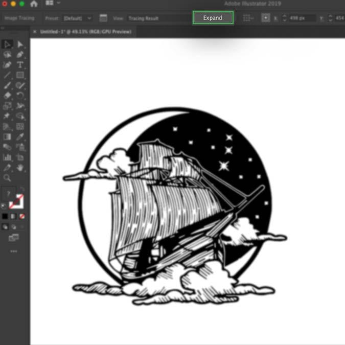 Интерфейс Illustrator, показывающий результат трассировки изображения