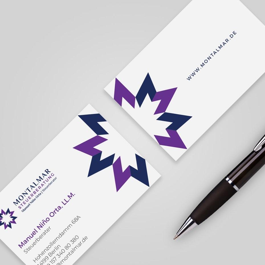 пурпурная графическая визитка