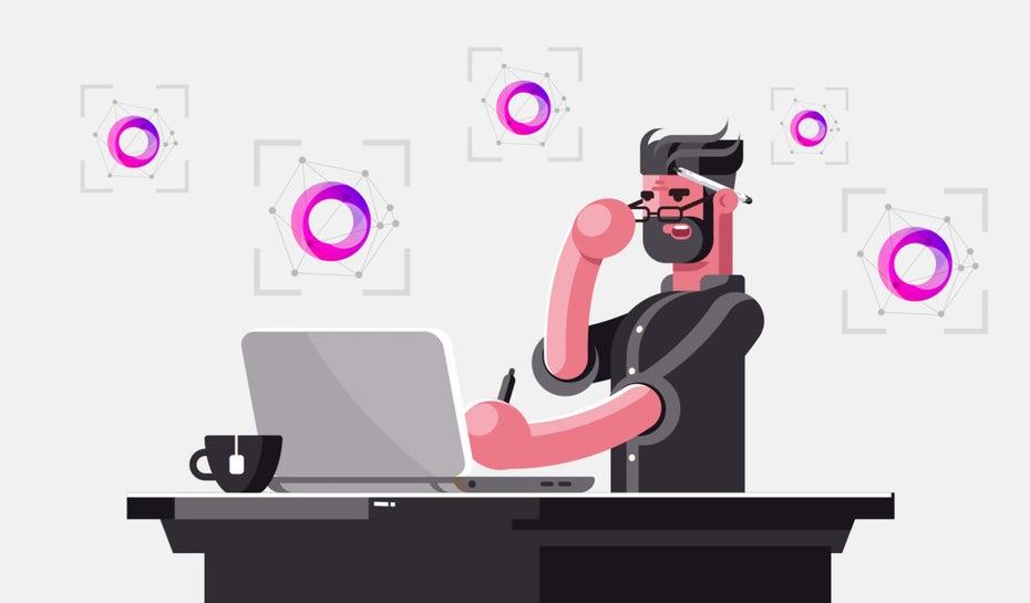 """Иллюстрация человека за столом с помощью программного обеспечения для распознавания логотипов """"width ="""" 1280 """"height ="""" 750"""