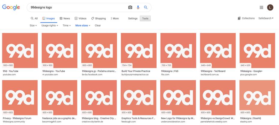 Логотип 99designs в Google Image Recognition