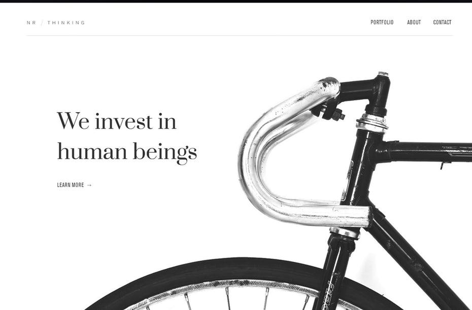 """минималистичный монохромный веб-дизайн с большой фотографией велосипеда """"width ="""" 1909 """"height ="""" 1255 """"/>    <figcaption> Майк Барнс </figcaption></figure> <p> <span style="""