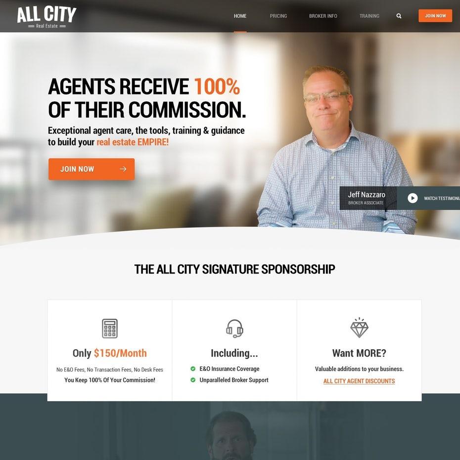 Серый и оранжевый сайт с изображением человека