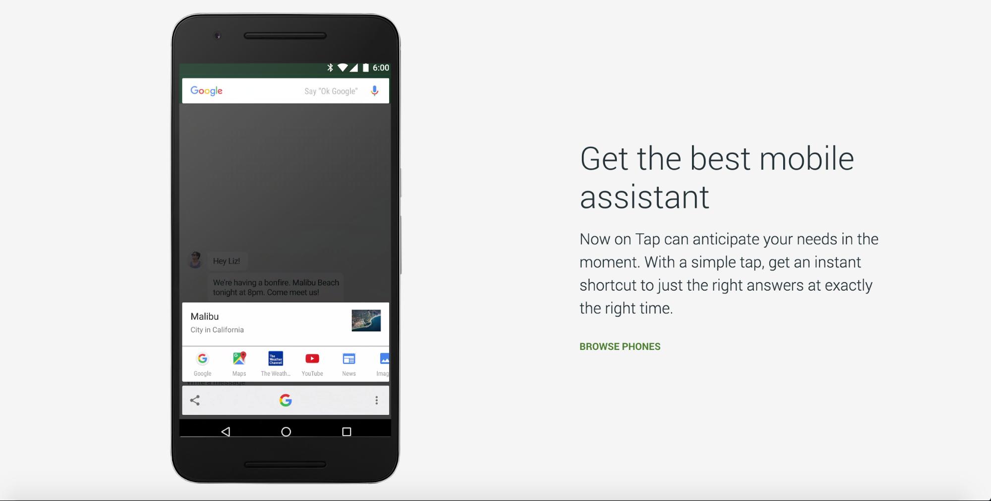 Страница с сайта Google Nexus - копия ссылки гласит «просмотр телефонов»