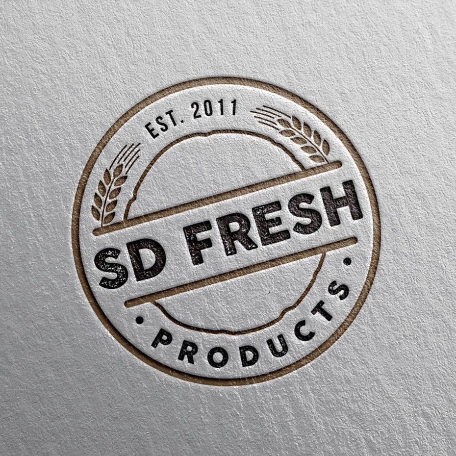 Тенденции визитных карточек 2020 г. Пример: дизайн логотипа sd fresh products