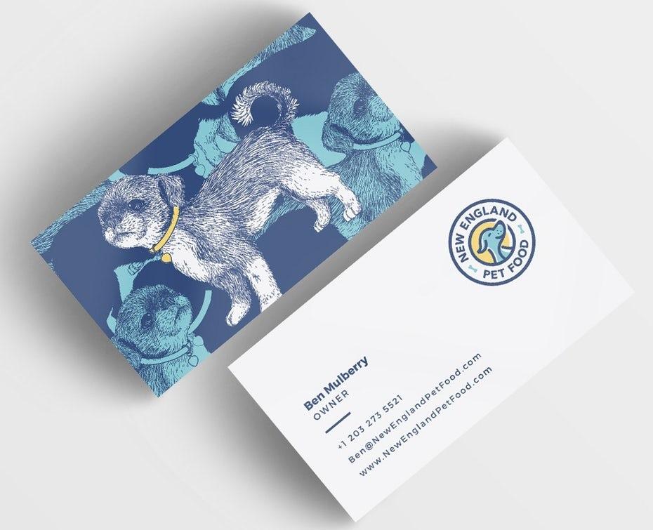 """Тенденции визитных карточек 2020 г. Пример: визитная карточка рисования собак """"width ="""" 1000 """"height ="""" 812"""