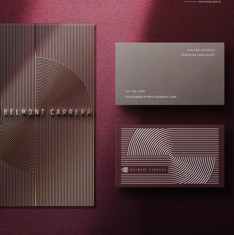 Пример трендов визитных карточек 2020: пурпурная визитная карточка belmont carrera