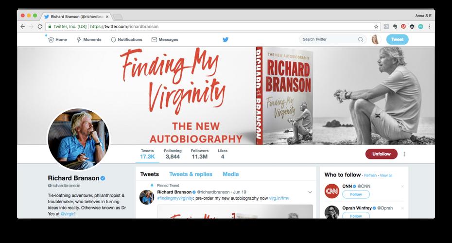 """Пример личного бренда: снимок экрана с профилем Ричарда Брэнсона в Твиттере """"width ="""" 1472 """"height ="""" 792 """"/>    <figcaption> Ричард Брэнсон известен своей веселой позицией, своей страстью к тому, что он делает и его вера в баланс между работой и личной жизнью для себя и своих сотрудников. </figcaption></figure> <p> Люди, естественно, интересуются другими людьми и их историями. Они хотят знать, почему вы создали свой бизнес в первую очередь, что Вы поддерживаете, и какие таланты и пристрастия вы приносите на стол. Выращивание сильного личного бренда гуманизирует ваш бизнес и позволит вам развить более крепкие отношения, которые приведут к более широкому влиянию. </p> <p> Как предприниматель, вы также можете начать более чем один бизнес за эти годы. Ваше текущее коммерческое предприятие может потерпеть неудачу (надеюсь, что нет!), И вы можете продать свои акции и перейти к следующему проекту, но ваш личный бренд продолжает жить. </p> <h3><span id="""