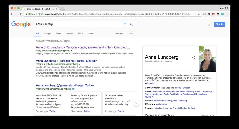 """Пример личного бренда: поиск в Google по запросу anna lundberg """"width ="""" 1472 """"height ="""" 792 """"/>    <figcaption> Когда я впервые начал управлять своим личным брендом — как я увольнялся с работы в 2013 году и обдумывая дальнейшие шаги — поиск в моем имени привел бы к 15-летней жертве автокатастрофы вместе с профессором шведского университета. Как вы видите, у меня все еще есть телеведущий, с которым можно поспорить! Via Anna Lundberg. </figcaption></figure> </p> <h3><span id="""