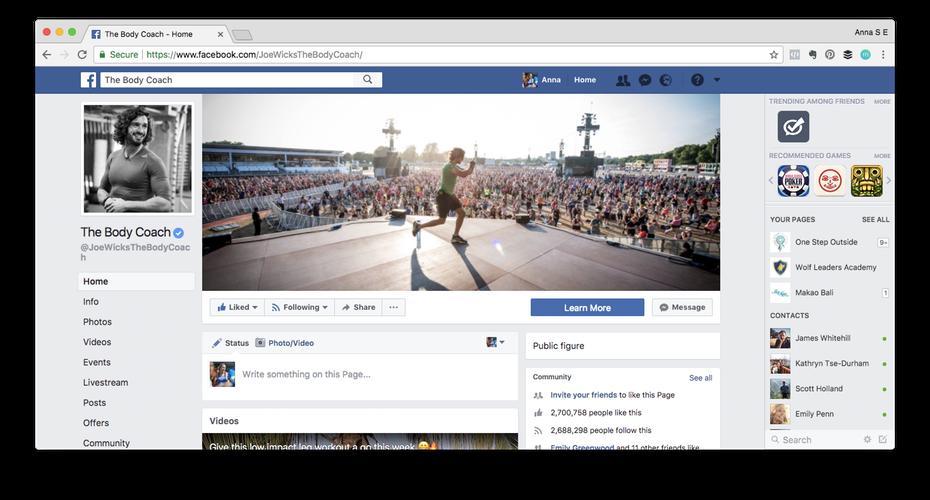 """Пример личного бренда: скриншот страницы Джо Уикса на Facebook """"width ="""" 1472 """"height ="""" 792 """"/>    <figcaption> Джо Уикс, он же The Body Coach, собрал 2,7 млн. его страница «публичной фигуры» благодаря его регулярным тренировкам в Facebook, видео на YouTube и другому интересному контенту. Обратите внимание, что его личный бренд находится здесь в центре внимания. </figcaption></figure> <p> Создание специальной страницы Facebook для ваших профессиональных связей Это хорошая идея, если вы хотите, чтобы ваша частная жизнь была конфиденциальной. Вы можете выбрать страницу «Автор» или «Публичный деятель». Убедитесь, что раздел «О нас» заполнен, у вас есть ссылка на ваш сайт, и вы У вас есть высококачественная фотография профиля и обложка. Вы можете (и должны!) позволить вашей личности проявиться здесь, но сохранить профессиональный тон и создать страницу, которая бы сделала вашу бабушку гордой! </p> <h4><span id="""