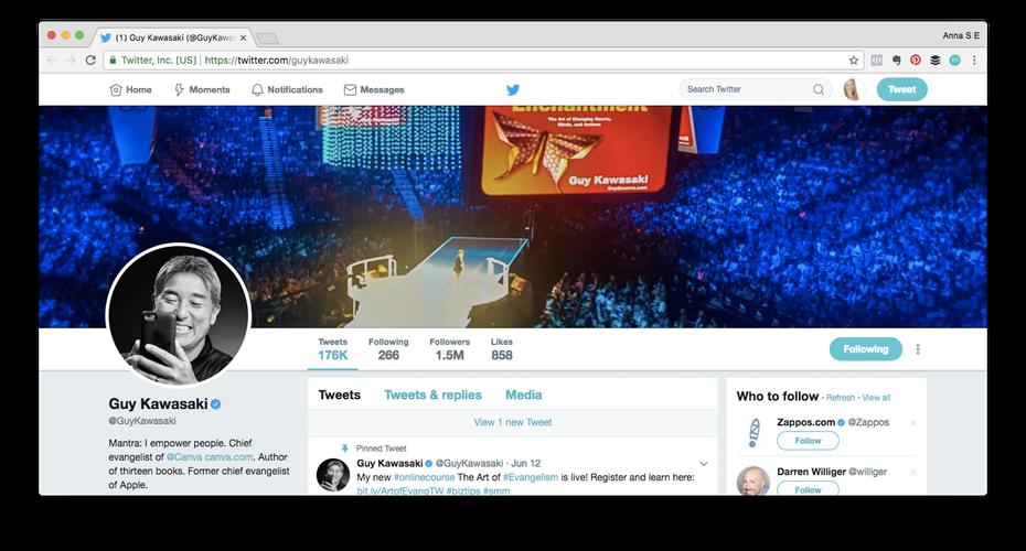 """Пример личного бренда: скриншот профиля Гая Кавасаки в Твиттере """"width ="""" 1472 """"height ="""" 792 """"/>    <figcaption> Гай Кавасаки — один из самых влиятельных людей в Twitter. Обратите внимание, что он написал свой твит о своем последний онлайн-курс. С 1,5 млн подписчиков он, должно быть, делает что-то правильно! </figcaption></figure> <p> Используйте эту профессиональную фотографию, которую вы сделали, и убедитесь, что ваша биография в Твиттере запечатлела вашу историю (вспомните этот замечательный пример из Ричард Брэнсон?) И что ваши твиты тоже непротиворечивы. Добавьте немного индивидуальности, так как простой обмен отраслевыми статьями может стать немного сухим! Вы можете прикрепить ключевой контент вверху своего профиля, чтобы убедиться, что Это первое, что люди видят, когда попадают в ваш профиль (вместо вашего случайного твита о том парне, которого вы видели в поезде сегодня утром). </p> <h4><span id="""