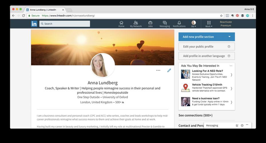 """Пример профиля LinkedIn """"width ="""" 1472 """"height ="""" 792 """"/>    <figcaption> Профессиональная фотография, убедительный заголовок и тщательно составленная сводка гарантируют, что ваш профиль LinkedIn привлечет правильный вид внимания Виа Анна Лундберг. </figcaption></figure> <h3><span id="""