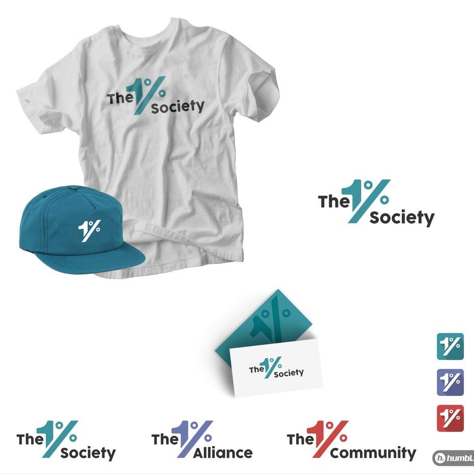 Коллекция логотипов, показывающих цветовую схему 1% коллектива