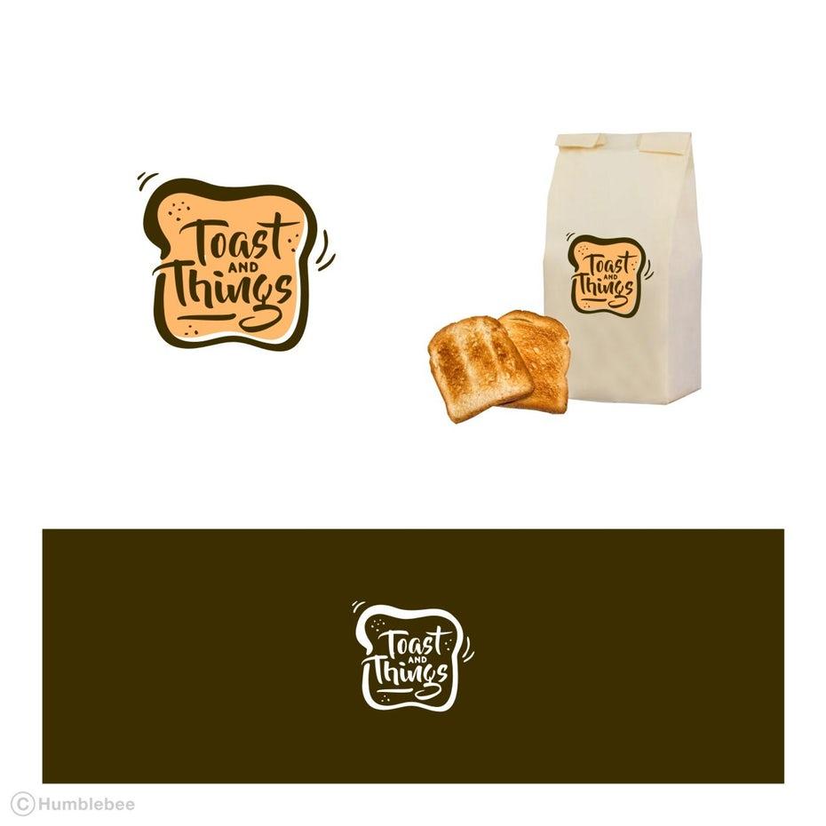 Логотип, макет упаковки и цветовая палитра для тостов и вещей