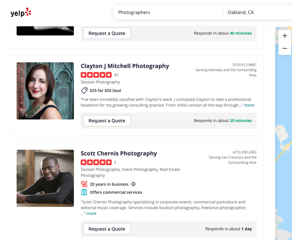 Снимок экрана с обзорами фотографов на Yelp