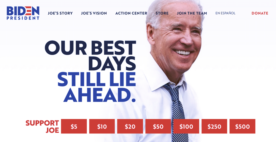 "Домашняя страница веб-сайта кампании Джо Байдена ""width ="" 1135 ""height ="" 587"