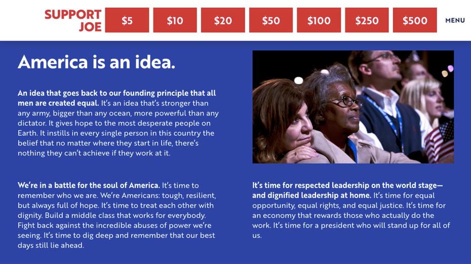 """Отрывок с веб-сайта кампании Джо Байдена """"width ="""" 1134 """"height ="""" 635"""