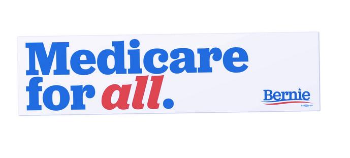 "Medicare для всех наклеек на бампер из кампании Берни Сандерса 2020 года. ""Width ="" 689 ""height ="" 311"