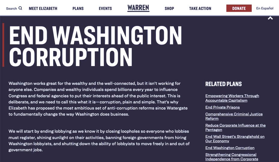 """Снимок экрана сайта Элизабет Уоррен для ее президентской кампании 2020 года """"width ="""" 1145 """"height ="""" 664"""
