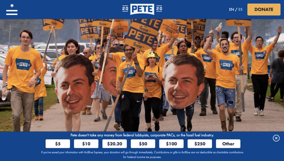 "снимок экрана с веб-сайтом кампании Пита Буттигага 2020 года ""width ="" 1140 ""height ="" 647"