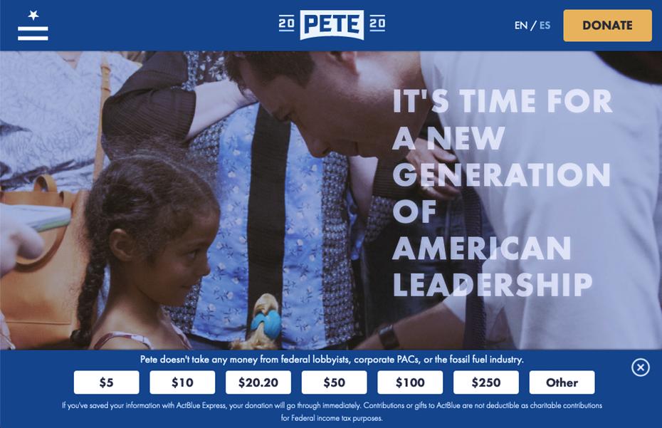 "Снимок экрана с сайта кампании президента Пита Буттига 202 года. ""Width ="" 994 ""height ="" 642"