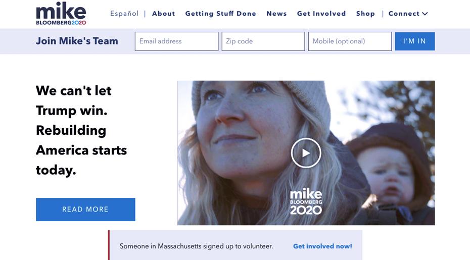 """Снимок экрана с веб-сайта президентской кампании Майка Блумберга 2020 года """"width ="""" 1136 """"height ="""" 629"""