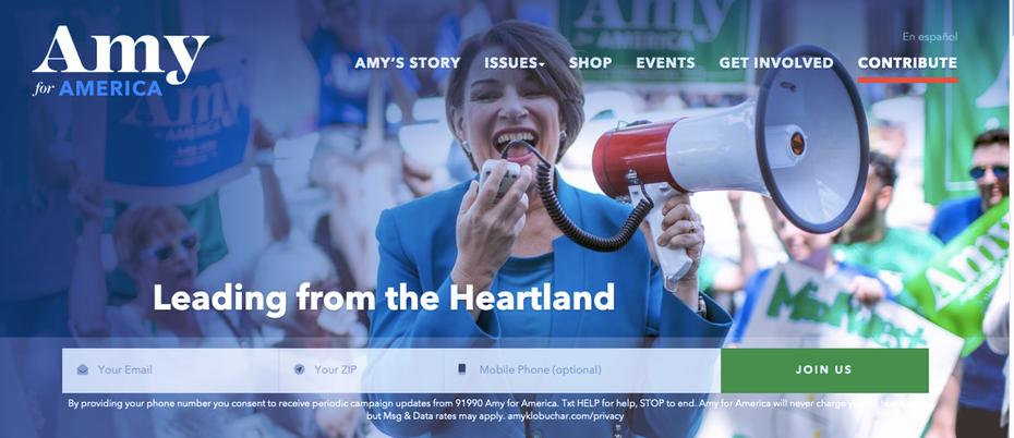 """Снимок экрана с домашней страницы веб-сайта кампании Эми Клобухер 2020 года. """"Width ="""" 1287 """"height ="""" 556"""
