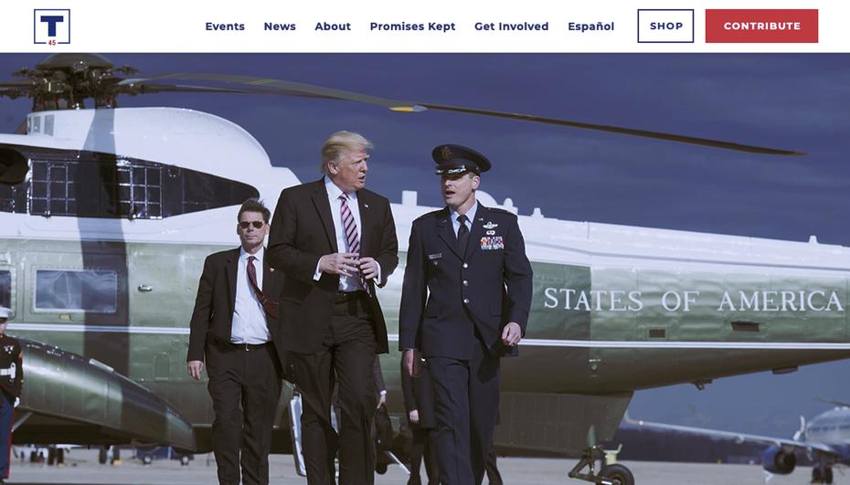 """Снимок экрана с веб-сайта президентской перевыборной кампании Дональда Трампа 2020 года """"width ="""" 1128 """"height ="""" 644"""