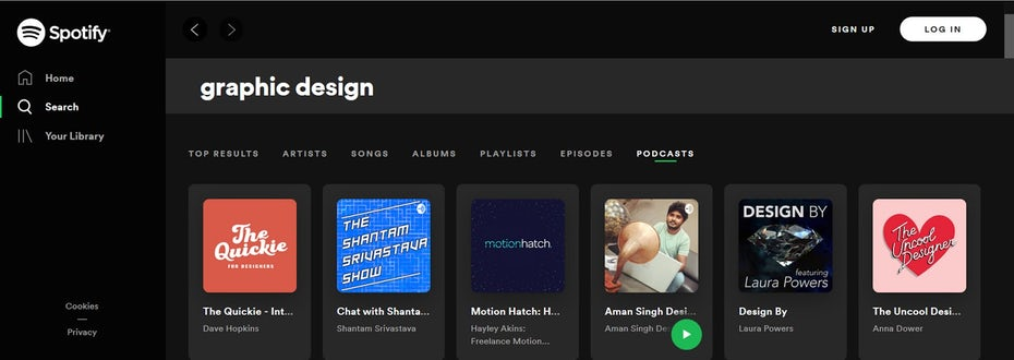 Поиск Spotify для подкастов