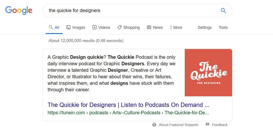 """Поиск в Google по запросу """"Быстрый доступ для дизайнеров"""""""