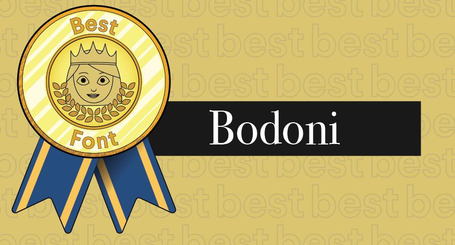 """Иллюстрированная награда за лучшие шрифты в сочетании с гарнитурой Bodoni """"width ="""" 900 """"height ="""" 485 """"/>    <figcaption> Bodoni имеет равномерное распределение веса, как это должно быть у классного шрифта </figcaption></figure> <h3><span id="""
