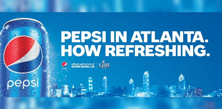 """Рекламный щит Pepsi от Super Bowl LIII """"width ="""" 2634 """"height ="""" 1304"""