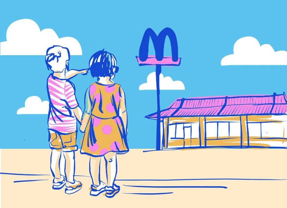 """Иллюстрация опыта бренда с детьми, указывающими на знак Макдональдса """"width ="""" 954 """"height ="""" 692 """"/>    <figcaption> Опыт бренда воплощает в себе все, что нужно знать о бренде. Иллюстрация Fe Melo. </figcaption></figure> <div id="""