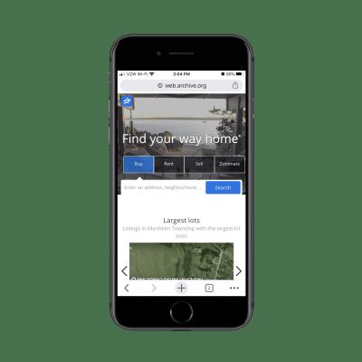 Домашняя страница Zillow для мобильных устройств в 2017 году