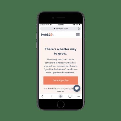 Мобильный сайт Hubspot с виджетом chatbot