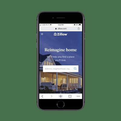 Домашняя страница Zillow на мобильном устройстве