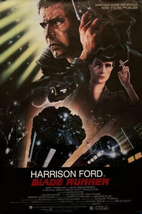 """Bladerunner Ridley Scott Poster """"width ="""" 482 """"height ="""" 724 """"/>    <figcaption> Знаковый плакат с изображением бегущего с лезвия через старинные киноплакаты </figcaption></figure> <h3><span id="""