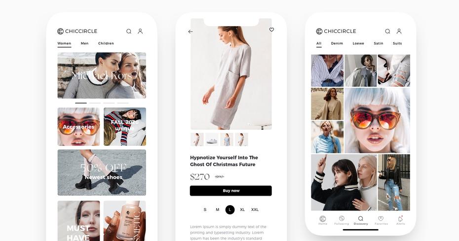 современный дизайн приложения для интернет-магазина женской моды