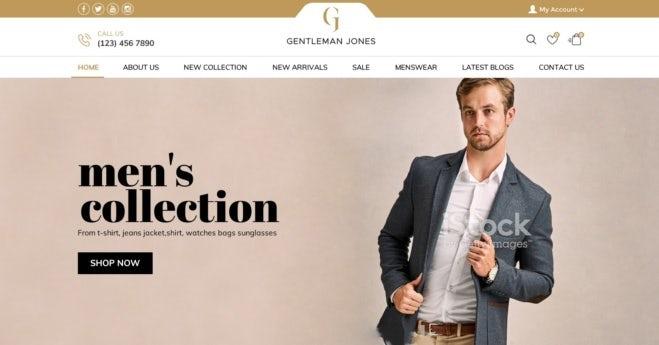 современный веб-дизайн для интернет-магазина мужской моды