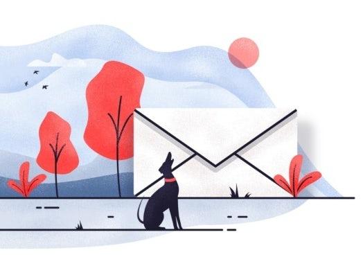 """Иллюстрация большого конверта в ландшафте с собакой """"width ="""" 524 """"height ="""" 384"""