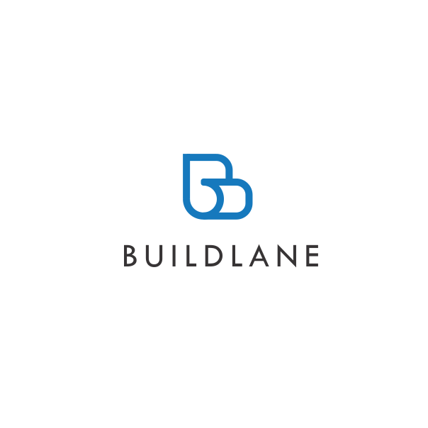 синий абстрактный логотип с буквой B и скрученной бумагой