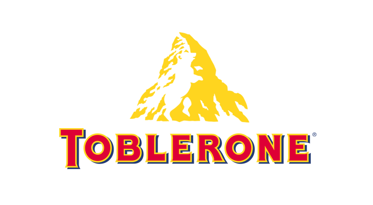 """Логотип Toblerone, показывающий слово и гору с медведем в отрицательном пространстве """"width ="""" 726 """"height ="""" 400"""
