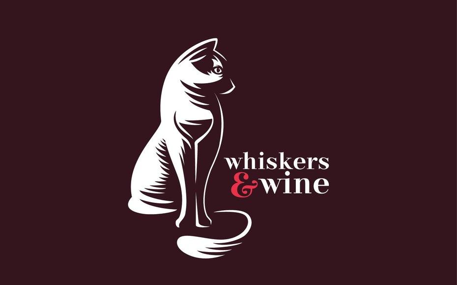 """белое отрицательное космическое изображение кошки с изображением бокала в отрицательном пространстве между ее передними ногами """"width ="""" 1667 """"height ="""" 1037"""